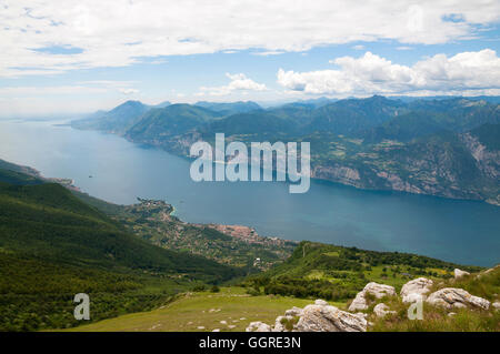 Lago De Garda, Garda Lake from Mount Baldo, North Italy - Stock Photo