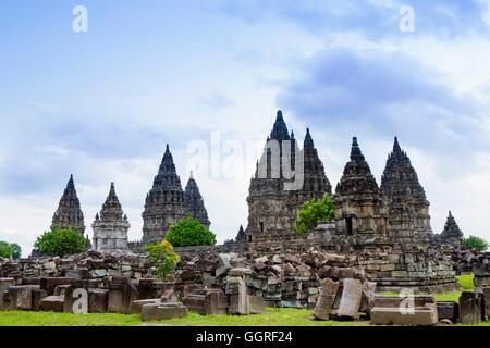 The Hindu temple complex at Prambanan near Yogyakarta, Indonesia - Stock Photo