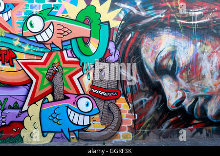 Graffiti on the Beco do Batman in Vila Madalena - Stock Photo