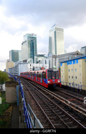 A driverless Docklands light railway train for the docklands financial district, Canning Town, London. The DLR is - Stock Photo