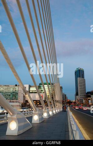 L'Assut d'Or bridge, by Santiago Calatrava, night view. Valencia, Spain. - Stock Photo