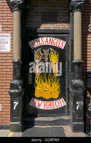 The front door of the New York City chapter of Hells Angels clubhouse in East Third Street in the East Village, - Stock Photo
