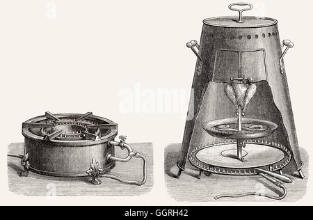 Gas stoves in the 19th century - Stock Photo