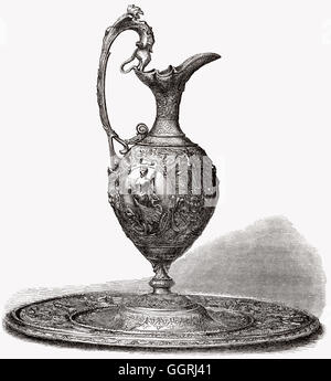 A decorative bronce pitcher, 19th century - Stock Photo