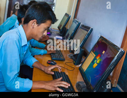 WeHelpNepal.org funded computers for a school in GOGANPANI VILLAGE - NEPAL - Stock Photo