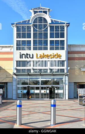 Exterior Intu Properties plc one of many shopping mall entrances at Thurrock Lakeside indoor shopping centre in - Stock Photo