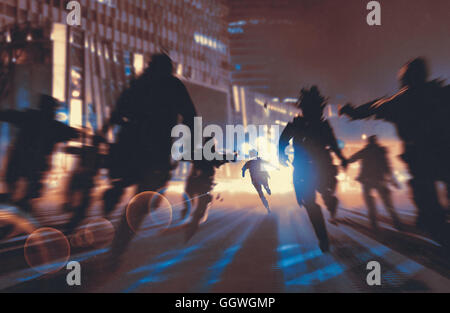 man running away from zombies in night city,illustration,digital painting - Stock Photo
