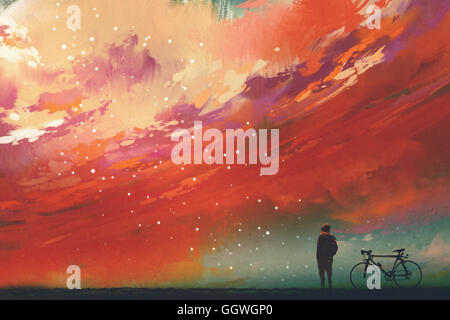 man with bicycle standing against red clouds in the sky,illustration,digital painting - Stock Photo