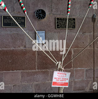Bell ringing ropes, St Marys Church, Gt Budworth, Cheshire, England, UK - Stock Photo