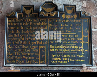 St Marys & All Saints Church Gt Budworth Interior, Cheshire, England,UK- Charitable gifts board - Stock Photo