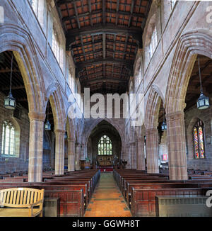 St Marys & All Saints Church Gt Budworth Interior, Cheshire, England,UK - view to altar - Stock Photo