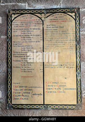 St Marys & All Saints Church Gt Budworth Interior, Cheshire, England,UK - Fees - Stock Photo