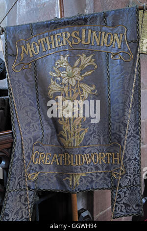 St Marys & All Saints Church Gt Budworth Interior, Cheshire, England,UK - Mothers union banner - Stock Photo