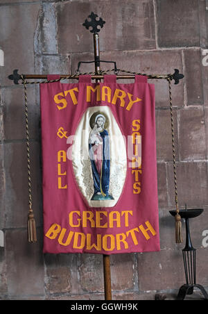 St Marys & All Saints Church Gt Budworth Interior, Cheshire, England,UK - walking banner - Stock Photo