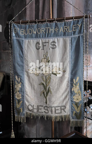 St Marys & All Saints Church Gt Budworth Interior, Cheshire, England,UK - Flag Arley GFS Chester - Stock Photo