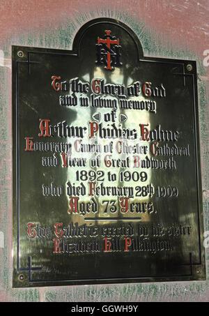St Marys & All Saints Church Gt Budworth Interior, Cheshire, England,UK - Brass plaque tablet - Stock Photo