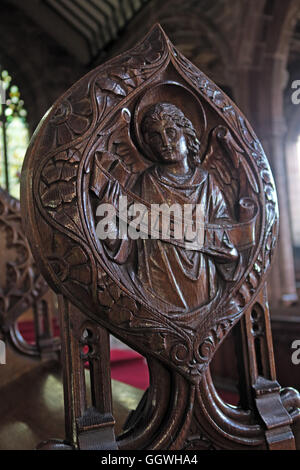St Marys & All Saints Church Gt Budworth Interior, Cheshire, England,UK - Wooden Alleluia carving - Stock Photo