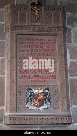 St Marys & All Saints Church Gt Budworth Interior, Cheshire, England,UK- Arthur Hugh Lord Barrymore - Stock Photo