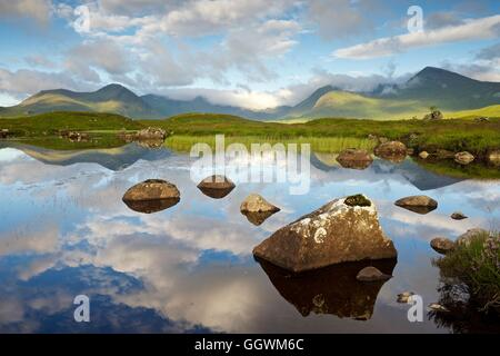 A colour image taken in summer of the landscape on rannoch moor - Stock Photo