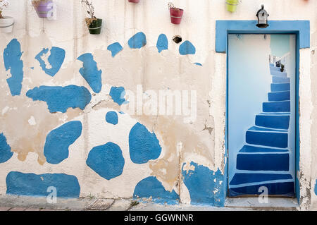 A classic greek style doorway at Makrigialos on the island of crete - Stock Photo