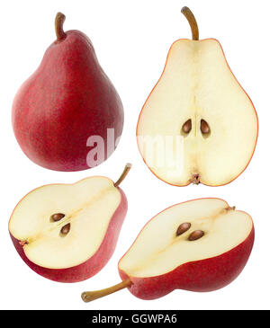 Isolated pears. Collection of whole and sliced red pear fruits isolated on white background with clipping path - Stock Photo