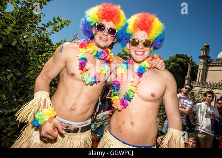 The Gay Pride march in Brighton, the UK's biggest Pride event, this year attended by more than a quarter of a million - Stock Photo