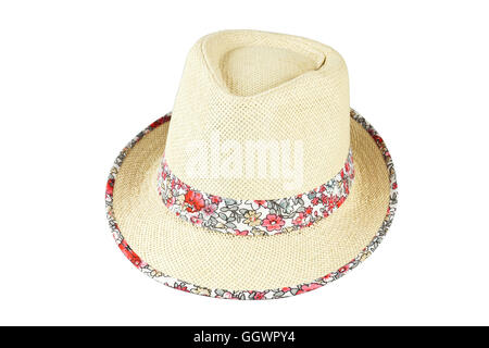 Beach straw hat isolated on white background - Stock Photo