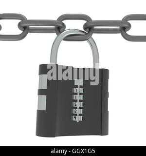 isolated heavy combination lock with five digits - Stock Photo