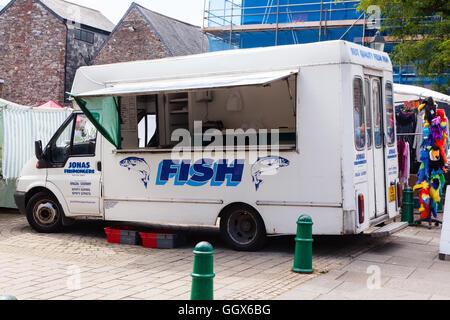 Mobile fishmongers  shop, Totnes, Devon England, United Kingdom. - Stock Photo