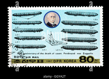 Postage stamp from North Korea depicting Ferdinand Adolf Heinrich August Graf von Zeppelin and diagrams of various - Stock Photo