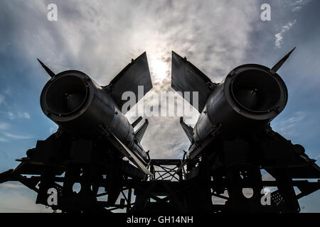 Astrakhan Region, Russia. 7th Aug, 2016. Air defense system on display at an exhibition of military equipment during - Stock Photo