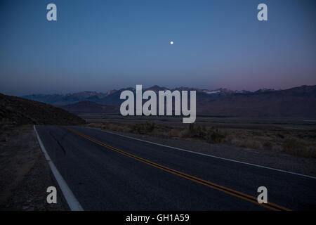 Jun 14, 2014 - White Mountains, California, U.S. - Highway 168 and The Sierra Nevada mountains with Mount Whitney - Stock Photo