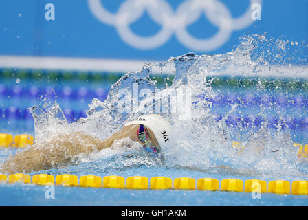 Rio De Janeiro, Brazil. 7th Aug, 2016. Sun Yang of China competes during the men's 200m freestyle swimming semifinal - Stock Photo
