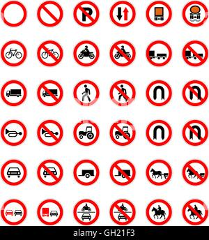 Set of forbidden road signs isolated on white - Stock Photo