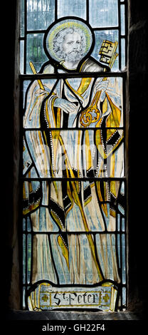 Saint Peter stained glass, St. Chad`s Church, Wishaw, Warwickshire, England, UK - Stock Photo