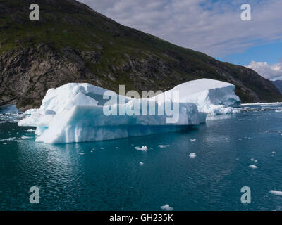 Icebergs Qooroq Ice Fjord fed from Greenland Ice Sheet glacier Tunulliarfik Fjord Southern Greenland a spectacular - Stock Photo