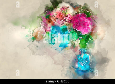 Colorful bouquet of flower. Digital watercolor painting - Stock Photo