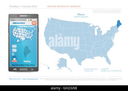 United States of America map and Maine state territory isolated on