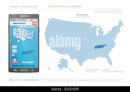 Tennessee state political map Stock Photo 18323581 Alamy
