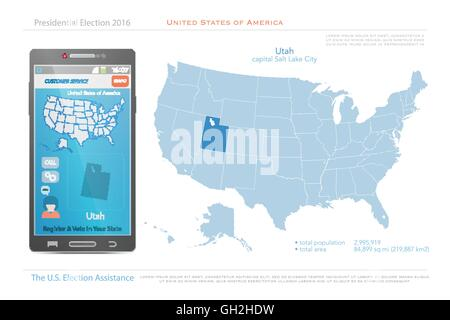 Utah State Political Map Stock Photo Royalty Free Image - Map usa utah