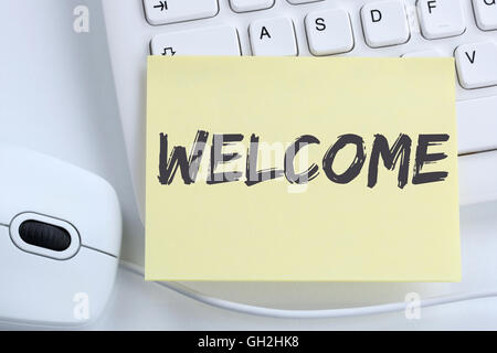 Welcome new employee colleague refugees refugee immigrants office computer keyboard - Stock Photo