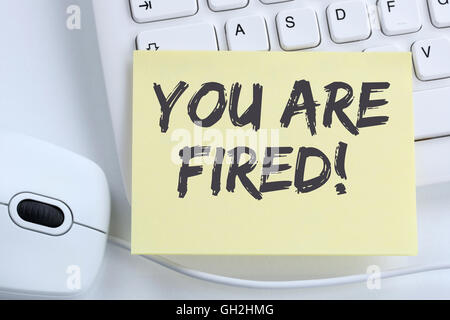 You are fired employee losing jobs, job working unemployed business concept office computer keyboard - Stock Photo