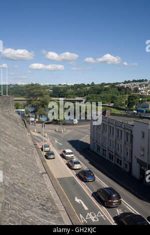 Coracle Way approaching junction with the Quay and Old station road - Stock Photo