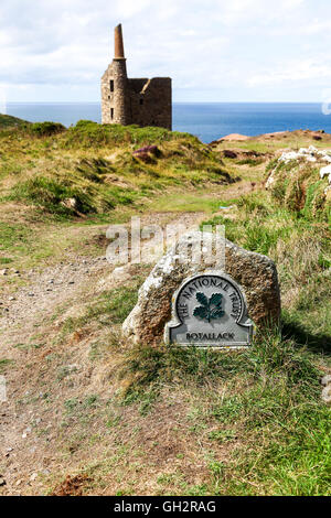 A National Trust omega sign saying Botallack and West Wheal Owles mine Cornwall England UK * PHOTO TAKEN FROM PUBLIC - Stock Photo