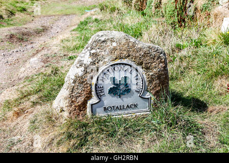 A National Trust omega sign saying Botallack Cornwall England UK * PHOTO TAKEN FROM PUBLIC FOOTPATH * - Stock Photo