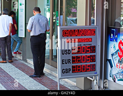Currency exchange shop showing the rate for Turkish Lira in Kusadasi Turkey - Stock Photo