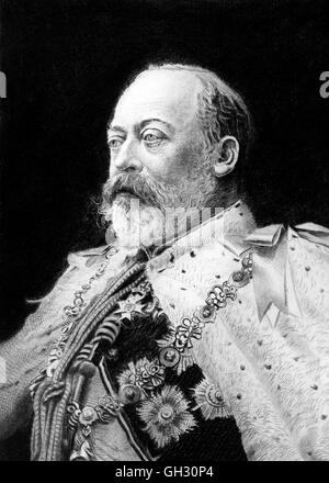 Edward VII  (1841-1910), who reigned as king of Great Britain from 1901 until his death in 1910.  Etching by Franz - Stock Photo