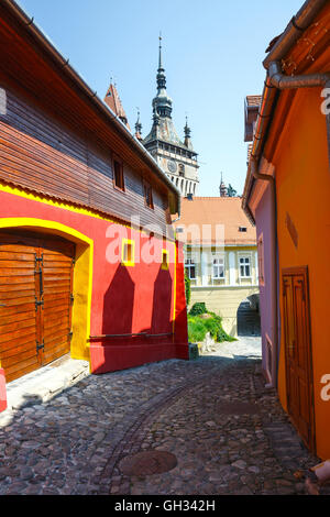 Medieval street view in Sighisoara, Romania - Stock Photo