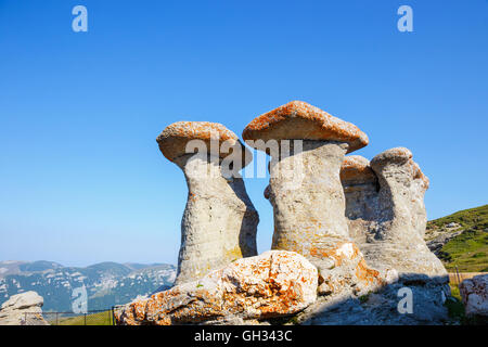 Babele - Geomorphologic rocky structures in Bucegi Mountains, Romania - Stock Photo