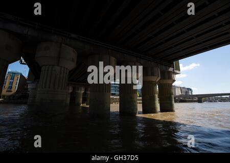 Cannon Street Railway Bridge, sits between Southwark and London Bridge crossing the Thames River, London, England, - Stock Photo